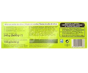 Productos Económicos Alcampo Atún en aceite de oliva Pack de 3 unidades de 52 gramos