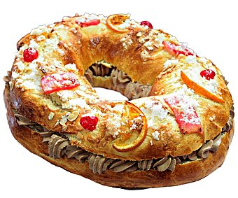 ROSCÓN DE REYES Roscón de Reyes mediano relleno de trufa, (aprox.). Elaborado Sin aceite de palma 1090 g.