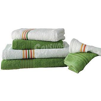 CASACTUAL Brasil juego de 6 toallas Jacquard en color verde y blanco