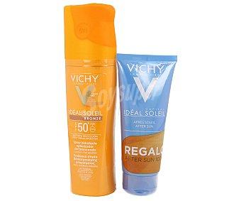 Vichy Spray hidratante optimizador del bronceado con factor protección 50+ más un after sun de regalo Spray de 200 ml