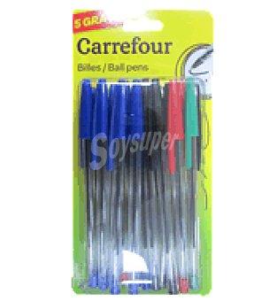Carrefour 20+5 boligrafos colores azul, negro, rojo y verde Pack de 25 un