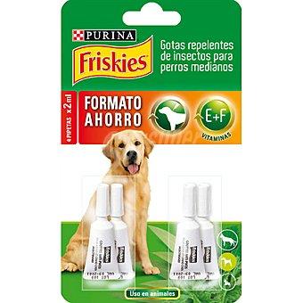 Purina Friskies Gotas repelentes de insectos para perros medianos 4 pipetas de 2 ml