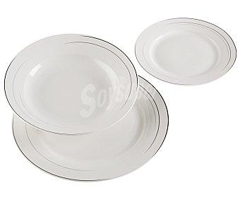 Versa Vajilla completa redonda fabricada en porcelana blanca, 18 piezas, Geneva versa