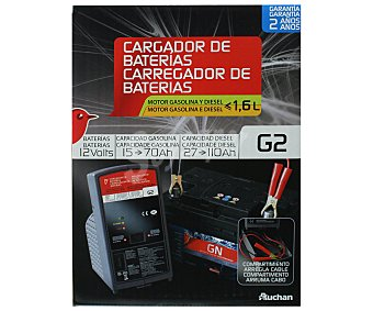 Auchan Cargador de baterias de 12V con capacidad de carga de 15 a 70 Amperios hora en motores gasolina y de 27 a 110 Amperios hora en motores diesel y recomendado para vehículos con motores de menos de 1.6 litros 1 unidad
