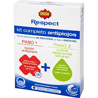ORION Respect kit completo antipiojos con loción antipiojos + crema desprende liendres incluye gorro y liendrera