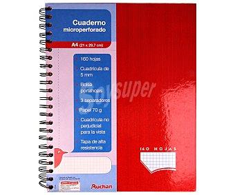 Auchan Cuaderno DIN A4 con cuadricula de 5x5 milímetros, margen izquierdo, 160 hojas de 70 gramos separadores, tapas extraduras de color y microperforado con encuadernación con espiral metálica 1 unidad