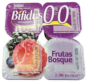 HACENDADO Yogur bifidus desnatado trozos frutas del bosque 4 unidades de 125 g (500 g)