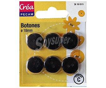 STYLE Botones abombados de 18 milímetros, color negro style Pack de 6