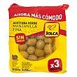 Aceitunas verdes manzanilla sin hueso Pack de 3 bolsas de 50 g Jolca