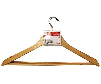 Auchan Perchas de madera natural con barra para camisas, abrigos y pantalones 2 Unidades