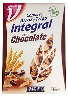 HACENDADO Cereal copos arroz trigo integral chocolate Paquete de 450 g