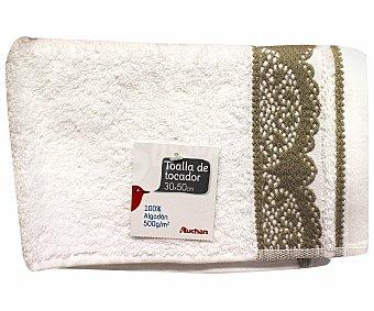 AUCHAN Toalla de algodón, estampado jacquard color negro, 30x50 centímetros 1 Unidad