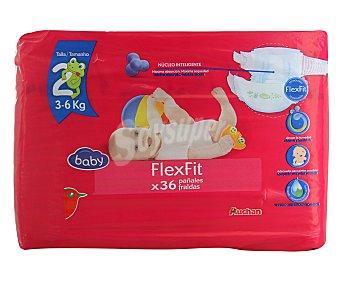 Baby Auchan Pañales talla 2 para bebés de 3 a 6 kilogramos 36 unidades