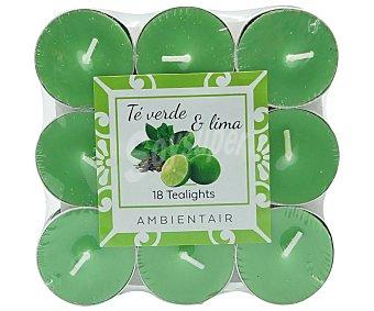 Ambient Air 18 velas calientaplatos color verde perfumadas con olor a té verde y lima. AMBIENTAIR.