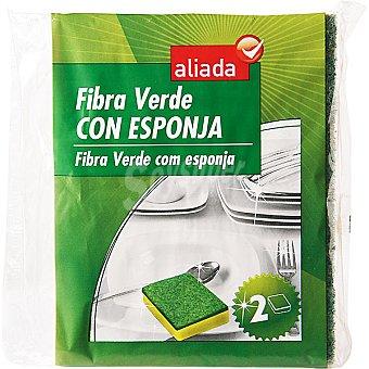 Aliada Estropajo fibra verde con esponja Envase 2 unidades