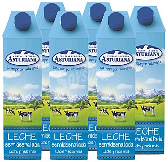 Central Lechera Asturiana Leche Semidesnatada Pack 6x1 litro