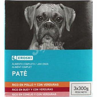Eroski Patés surtidos para perro Pack 3x300 g