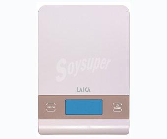 Laica Báscula electrónica compacta de cocina con base de cristal rosa, peso máximo de 5 kilos, KS1027P 1 unidad
