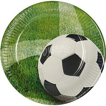 Papstar Plato de cartón redondo decorado campo de fútbol 23 cm paquete 10 unidades Paquete 10 unidades