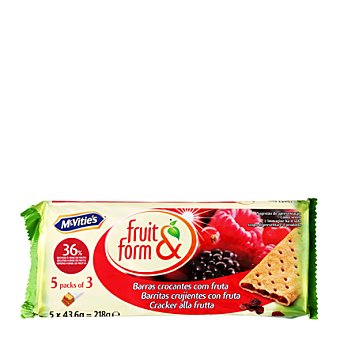 McVities Galletas rellenas de frutos del bosque Fruit & Form 195 g