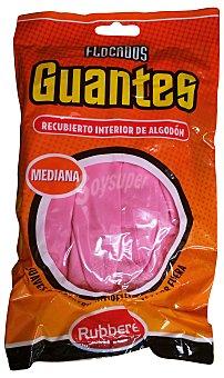 Rubberex Guantes flocado rosa talla mediana Paquete 2 u