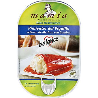 Mamía Pimientos de piquillo rellenos de merluza con gambas Estuche 230 g