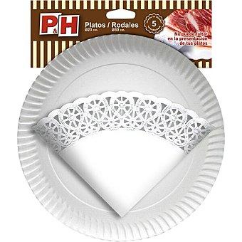 P & H Rodal 30 cm con plato cartón 23 cm Estuche 5 unidades