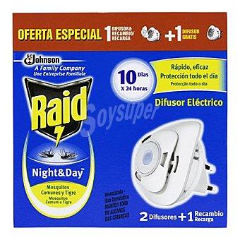 Raid Insecticida eléctrico Night & Day, 10 días x 24h. 2 ud