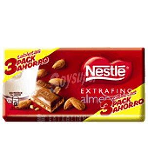 Extrafino Nestlé Chocolate con leche-almendra Pack 3x150 g