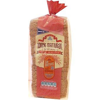 Hipercor pan de molde integral 100% natural sin corteza  bolsa 450 g
