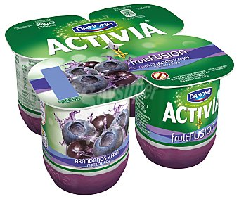 Activia Danone Yogur con bífidus arándanos y asaí 4 unidades de 125 gramos