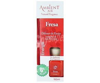 AMBIENTAIR Difusor de varillas de bambú con perfume de fresa, y efectos estimulantes y revitalizantes 100 Mililitros