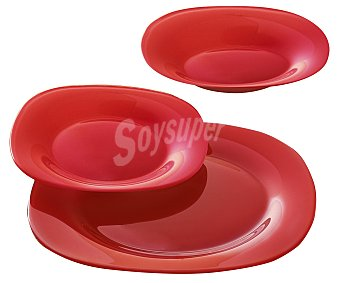 LUMINARC Vajilla de 18 piezas modelo Carina Colors, fabricada en vidrio templado de color rojo y con diseño cuadrado con bordes redondeados 18 piezas