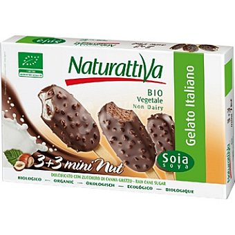NATURATTIVA Helado de soja pack 3 sabor natural + 3 sabor chocolate estuche 210 g Pack 3