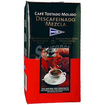 Hipercor Café descafeinado molido mezcla 50-50 Paquete 250 g