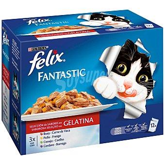 Purina Felix Fantastic selección de carnes en gelatina para gatos Pack 12 sobres x 100 g