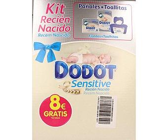Dodot Kit de recién nacido compuesto por pañales talla 1 (2-5kg) pañales talla 2 (3-6kg) paquete de toallitas Sensitive