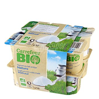 Carrefour Bio Yogur natural Pack de 12x125 g