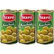 Aceitunas manzanilla rellenas de anchoa 3 envases 150 g neto escurrido Serpis