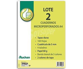 Productos Económicos Alcampo Lote de 2 cuadernos DIN A4 con cuadricula de 5x5 milímetros, margen izquierdo, 80 hojas de 60 gramos, tapas duras de 2 colores y 4 taladros 1 unidad