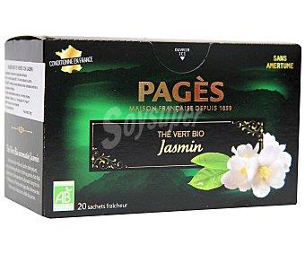 PAGÉS Te verde de cultivo ecológico con jazmín pages 20 sobres de 1,5 gr
