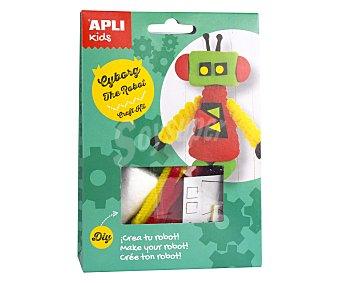 APLI Kit para construir un muñeco con forma de robot de color verde y rojo a base de materiales para realizar manualidades APLI