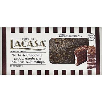Lacasa Turrón de tarta de chocolate con caramelo a la sal rosa del Himalaya Estuche 230 g