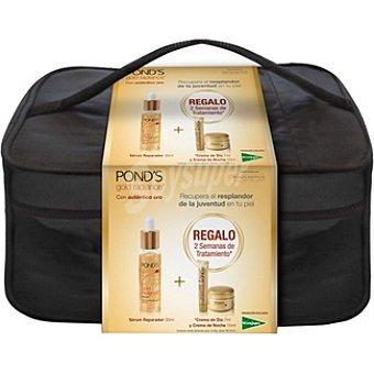 Pond's Pack Gold Radiance sérum facial reparador dosificador + crema de día mini envase 7 ml + crema de noche tarro 10 ml + neceser 30 ml