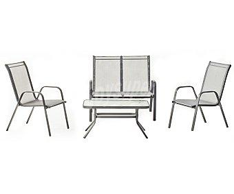 HEVEA Conjunto de mesa, sofá de 2 plazas y 2 sillones, modelo Sulam en gris antracita y con estructura de acero y recubiertos de textileno 1 unidad