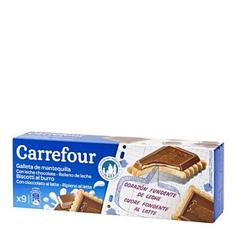 Carrefour Galletas de chocolate rellenas de leche 140 g