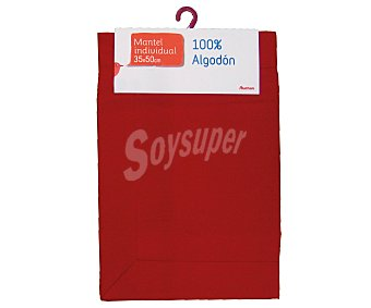 Auchan Mantel individual 100% algodón color rojo liso, 35x50 centímetros 1 Unidad