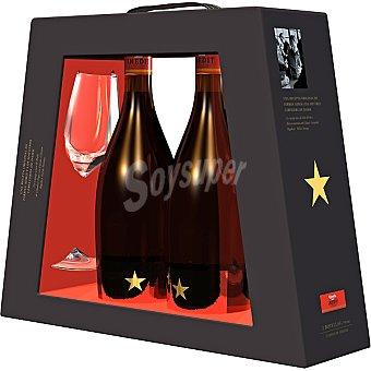Estrella Damm Cerveza rubia nacional extra Inedit estuche 2 botellas 75 cl + 2 copas Estuche 2 botellas 75 cl