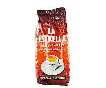 La Estrella Café Mezcla Tueste Natural 65% y Torrefacto 35% Especial Catering en Grano 1kg