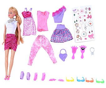 Productos Económicos Alcampo Conjunto de muñeca con 3 vestidos y accesorios 1 unidad